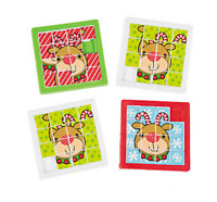 Pack of 4 - Plastic Christmas Reindeer Slide Puzzles Party Bags Stocking Fillers
