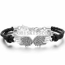 Vintage Angel Wing Leather Braided Men's Women Cuff Bangle Bracelet Wristband