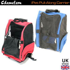 Pet Travel Carrier Pull Along Bag wheels - Small Cat, Dog Portable Crate