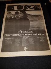 U2 Rare Original Joshua Tree 1987 Uk Tour Promo Poster Ad Framed!