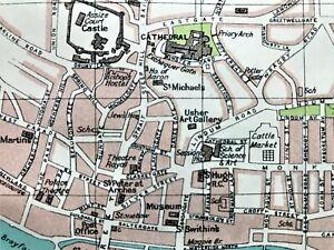 Antique Color Map ~ LINCOLN, ENGLAND ~ 100% AUTHENTIC ~ Original 1930 ~ Streets