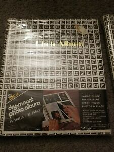 VINTAGE Alco Brown Design Dry Mount Photo Album 30 Page 15 Sheet Magic Cling NEW