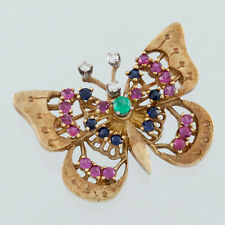 14k Yellow Gold Diamond, Ruby, Emerald, and Sapphire Butterfly Brooch
