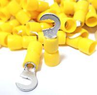 100PK Hook Ring Terminal, 12-10 Yellow Vinyl Insulated #8 Hook