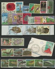 GUYANA LOT / COLLECTION OF (30) STAMPS FISH BIRDS FLOWERS & SHIPS