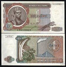ZAIRE CONGO DR. 1 ZAIRE P19 1979 ELEPHANT LEOPARD MOBUTU UNC ANIMAL MONEY NOTE