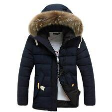 Winter Men's Cotton Coat Thicken Warm Outwear Parka Hooded Fur Collar Jacket