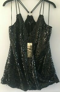 STAR by Julien Macdonald Black Sequin Party Top RRP £35 in Sizes 12, 14, 16, 18