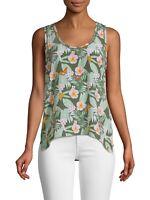 NWT- Joie Erla Sleeveless Silk Tropical Floral Print Top, Moss - Size Medium