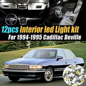 12Pc Super White Car Interior LED Light Bulb Kit for 1994-1995 Cadillac DeVille