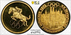 1972 Germany Munich Olympiad Medal PCGS SP 67 Equestrian Gold Witter Coin