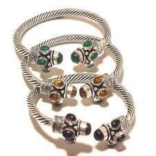 Bulk Lot !! 5 PCs. AMETHYST & ONYX Sterling Silver Plated Cuff Bracelet Jewelry