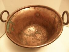 "ANTIQUE COPPER 20"" APPLE- BUTTER KETTLE- POT-CAULDRON w/ CAST IRON HANDLES"