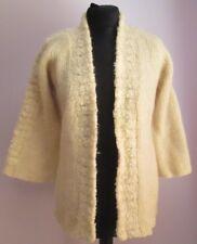 VTG Ladies LOU ALDAS Cream Open Wool Cardigan Size Extra Small (b28)