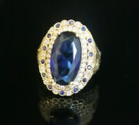 Turkish Handmade Jewelry Sterling Silver 925 Sapphire Ladies Ring Size 8