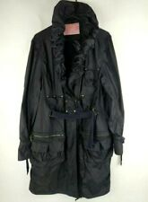 Monik Charles Chang-Lima Black Coat Womens Belted Trench Raincoat Polyester XL