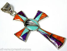 Turquoise Multicolor & Fire Opal Inlay 925 Sterling Silver Cross Pendant 2-1/8''