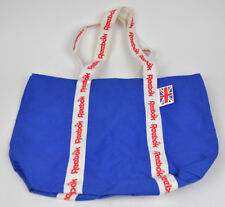 Vtg REEBOK Blue UNION JACK Red WHITE Strap TOTE Gym BAG Canvas CARRYALL Used