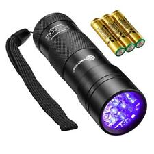 Black Light 12 LEDs 395nm UV Blacklight Flashlights Detector for Dry Pets Urine