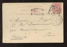 ST LUCIA 1903 PPC...SURINAME OVER ST NAZAIRE...DUTCH WEST INDIES to PARIS