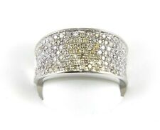 Brilliant White & Yellow Diamond Pave Cigar Ring Band 14K White Gold 1.30Ct