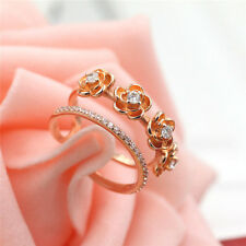 925 Rose gold Plated men / Women Fashion Jewelry Rings Size Open Hj31