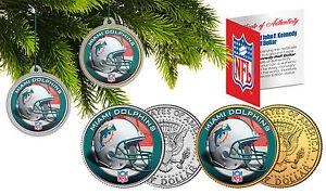 MIAMI DOLPHINS Christmas Tree Ornaments JFK Half Dollar US 2-Coin Set NFL