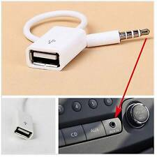 3.5mm Male AUX Audio Plug Jack to USB 2.0 Female Adapter Cable White.