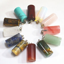Lot 50pcs MIX Natural Stone Cylindrical shape Gemstone Necklace Pendant