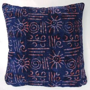 2Pcs Indian Handmade Kantha Embroidery Reversible Vintage Cushion Cover 40x40cms