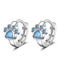 Genuine 925 Sterling Silver Cute Blue Zircon Kitten Footprint Hoop Earrings GIFT