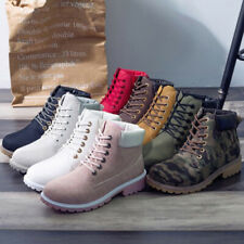 Womens Mens Winter PU Leather Lace Up Combat High Top Martin Short Ankle Boots