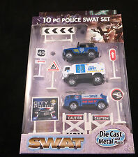 10 Piece Die Cast Police Swat Team Set - Includes 3 Cars / Vehicles plus Signs