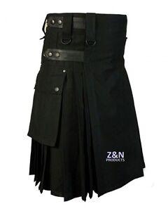 Men's Black Cotton, Leather Straps, Fashion Sport Utility Kilt, Adjustable Sizes