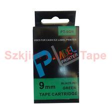 Casio Compatible xr-9gn Negro Sobre Verde 9mm 8m Etiqueta Cinta cwl300 xr-9gn1
