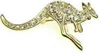 VINTAGE 90s KANGAROO Rhinestone Brooch Animal PIN WALLABY Crystals Gold tone 2""