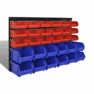 Storage Bins 30pc Wall Mount DIY Tools Screws Shelving Set Organiser Garage