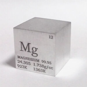 Magnesium Metal Density Cube 25.4mm 99.95% 28g for Element Collection