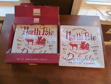 """4 - 222 FIFTH CHRISTMAS CHINA NORTH POLE SQUARE DINNER PLATES 10"""" NEW IN BOX"""