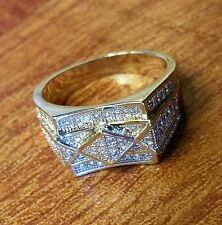 SIZE11 MEN'S EXQUISITE 18K WHITE GOLD FILLED CUBIC ZIRCONIA CRYSTALS RING
