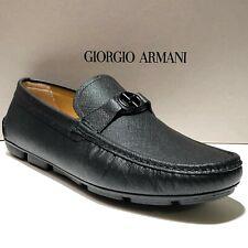 Armani Black Leather 10.5 Men's Bit Loafers Driver Dress Pebbled Shoes Moccasin