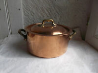 French copper pot saucepan with lid brass handle copper rivets stamped