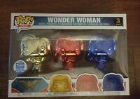 Funko Pop! Heroes Chrome Wonder Woman 3 Pack Funko Shop Exclusive