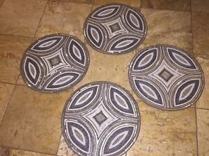 """NWT Kim Seybert Neiman Marcus Silver 15"""" Beaded Dinner Placemats Chargers Set 4"""