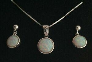 Trellis Celtic Fire Opal Round Pendant Necklace Earrings Set Sterling Silver