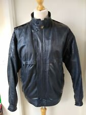 Vintage Leather Bomber Biker Racer Jacket Mans Mens Size L Dark Grey Cooool!