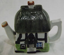 Novelty Teapot Dark Green & White Thatched Cottage House Collector Tea Pot