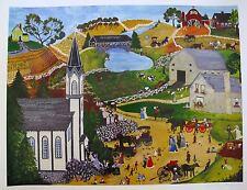 DENEILLE SPOHN MOES SUNDAY MASS Hand Signed Limited Edition Serigraph CHURCH ART