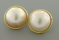 VINTAGE 14K YELLOW GOLD LADIES LARGE MABE PEARL EARRINGS
