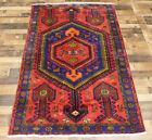 "4'5""X7'3"" Handmade wool Authentic Vintage Traditional Hamedan Oriental area rug"